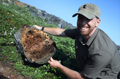Alex Smith holds a log full of carpenter ants. Photos by Eric Scott
