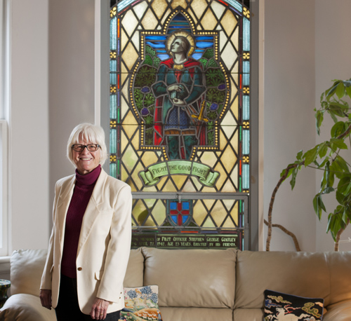 The stained-glass window in Judy Nasby's home was first a public memorial to her uncle Stephen Goatley's service during the Second World War and is now a personal memorial to a lost family member.  Photo by Dean Palmer