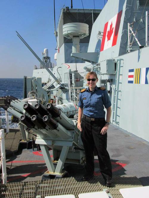 Heather Fogo aboard the HMCS Regina