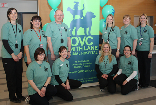 Celebrating the new name of the OVC Smith Lane Animal Hospital are, back row, left to right: Patricia Van Asten, Dani Hughes, director Peter Conlon, Lisa Veit, Melinda Hanssen and Tiffany Durzi. Front row: Robyn Stallibrass, Shannon Gowland, Andrea Alexander and Breanna Ryder.