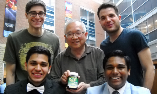 Clockwise from bottom left, Amit Bhattacharyya, Steven Huszczynski, Prof. Joseph Lam, David Prevedel and Isaac Thevathasan