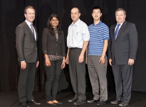 From left: Rick Legate, chair of the AUTO21 board of directors; U of G team members Vidhya Nagarajan, Arturo Rodriguez-U and Kunyu Zhang; and Peter Frise, AUTO21 CEO and scientific director. Photo courtesy AUTO21 HQP