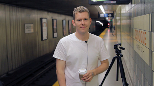 Guelph studio arts student Theo Bakker in a Toronto subway station where his film was chosen by the Toronto Urban Film Festival was chosen to screen.