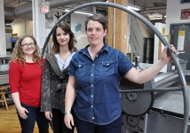 Guelph fine arts graduates Sara Kelly, Laura Bydlowska and Anna Gaby-Trotz work at OpenStudio and keeping the printmaking tradition alive.