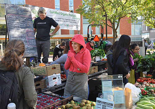 The Guelph Centre for Urban Organic Farming (GCUOF) hosts a weekly farmer's market