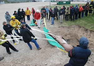 Large animal rescue, sideways drag