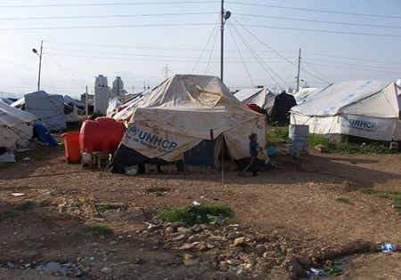 A Syrian refugee camp in the Middle East.