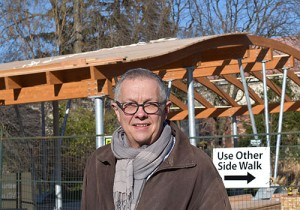 New green bike shelter is being built at the University of Guelph.