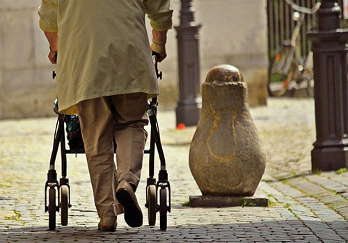 Old people walking, research at University of Guelph studies why we lose muscle mass
