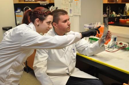 Sara Timpano and Jim Uniacke in the lab