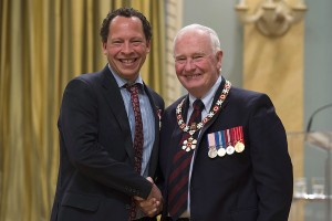 Governor General David Johnston invests Lawrence Hill, from Hamilton, Ont. as a Member of the Order of Canada during a ceremony at Rideau Hall Friday September 23, 2016 in Ottawa. THE CANADIAN PRESS/Adrian Wyld