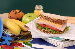 School lunch on a classroom desk