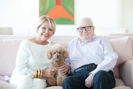 Emmanuelle Gattuso and Allan Slaight with their dog Stewart