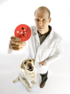 a photo of Scott Weese holding a petri dish