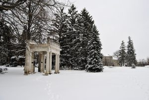 Snow on Johnston Green portico