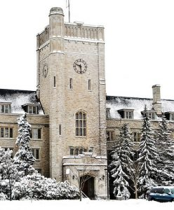 A photo of Johnston Hall on the U of G campus covered in snow