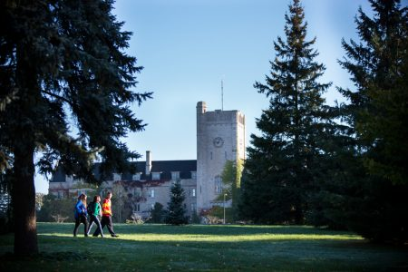 Students walking on Johnston Green