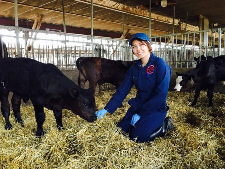 Nasrin Husseini kneels in a barn feeding a calf and smiles for the camera