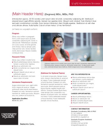 Example of one-pager layout featuring female student