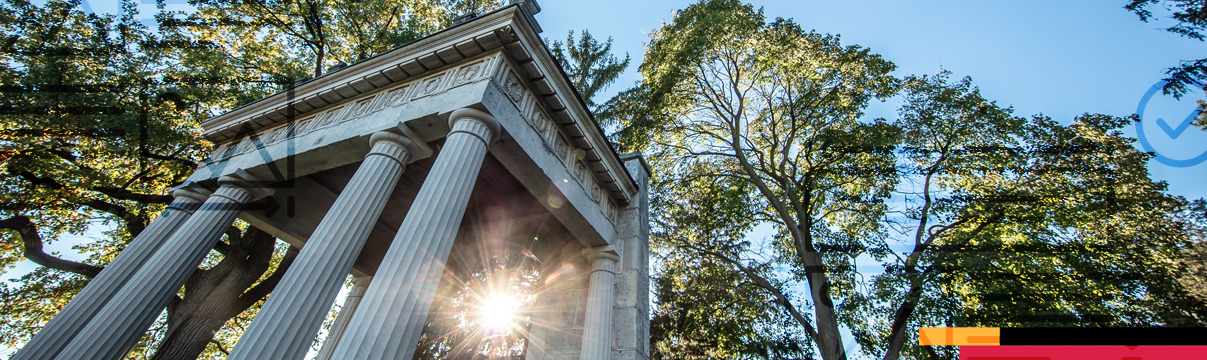 decorative image of a sun flare on the portico