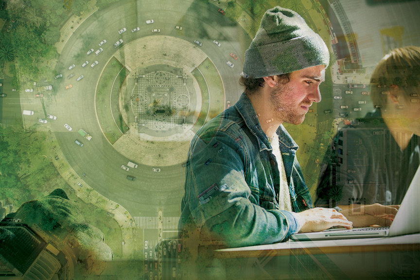 Male student looks at laptop, image of cars going through a roundabout overlaid