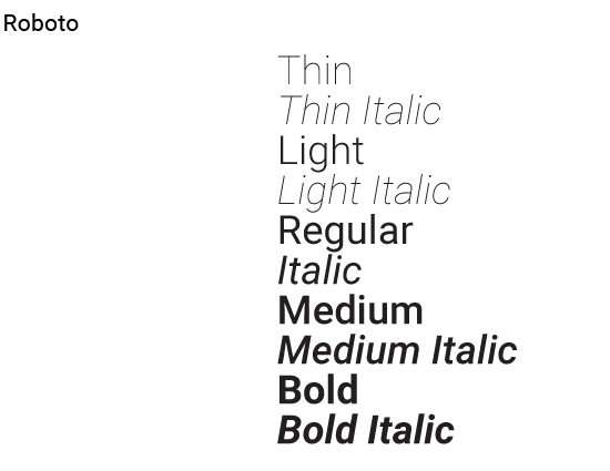 Roboto Font Example
