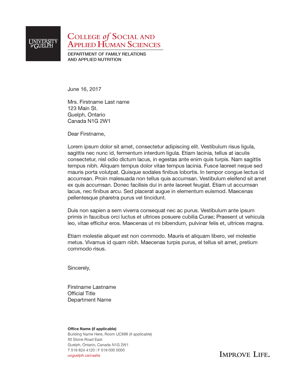 College of Social and Applied Human Sciences letterhead example