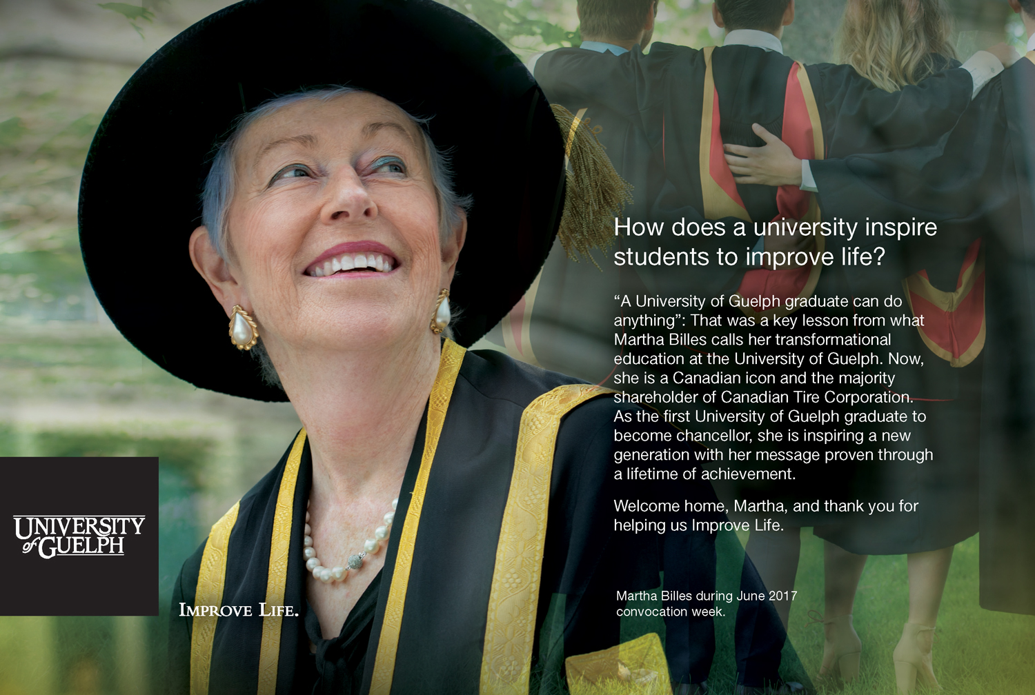Ad layout showing Chancellor looking up at students in convocation gowns