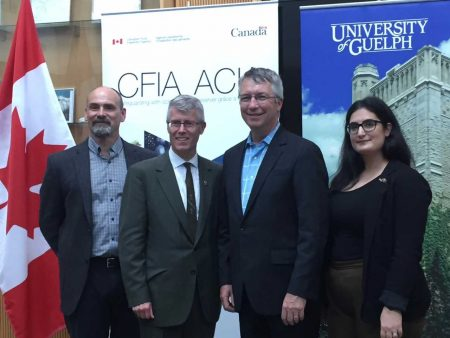 Robert Hanner, principal investigator (left); Malcolm Campbell, vice-president (research); Lloyd Longfield, MP for Guelph; Amanda Naaum, researcher