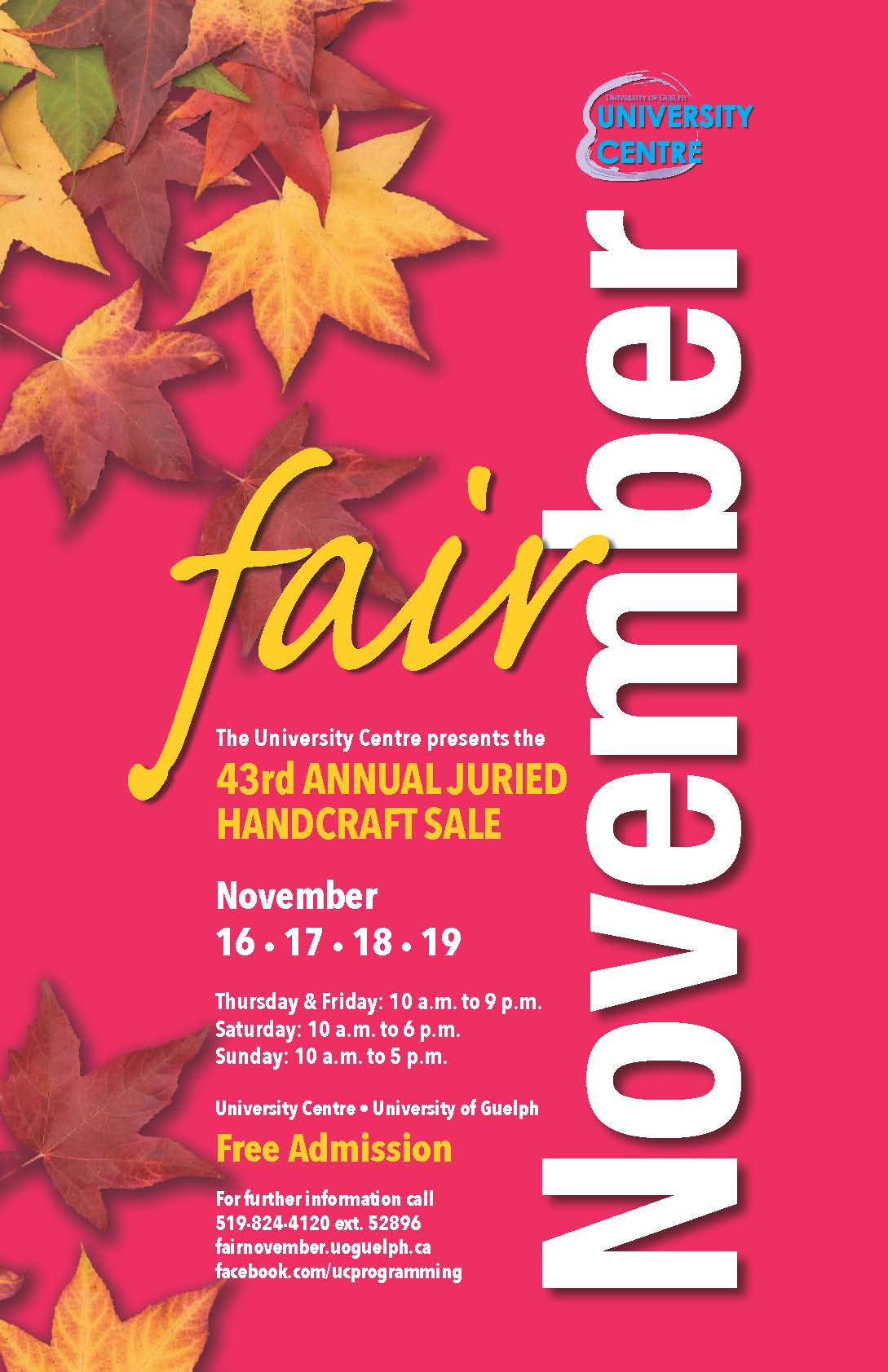 Fair November Poster with red background and leaves