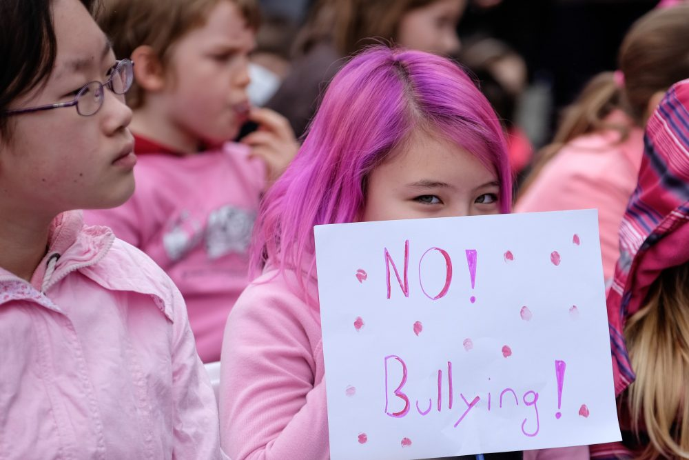 Students on the steps of the B.C. legislature take part in Pink Shirt Day