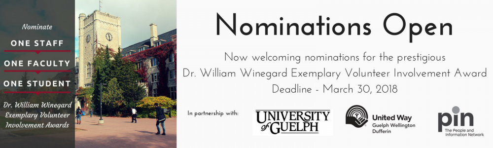 Nominate a faculty, staff or student for the Winegard Volunteer Awards - deadline March 30