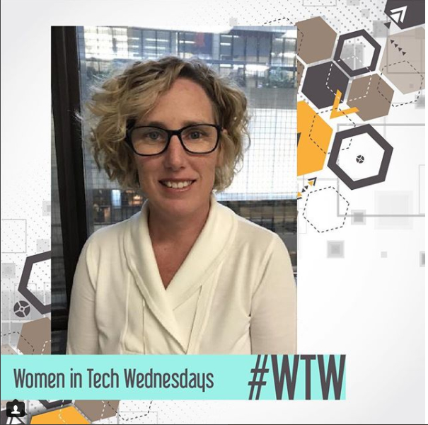 Photo of one of the women profiled in CCS's Women in Tech Wednesday Instagram campaign