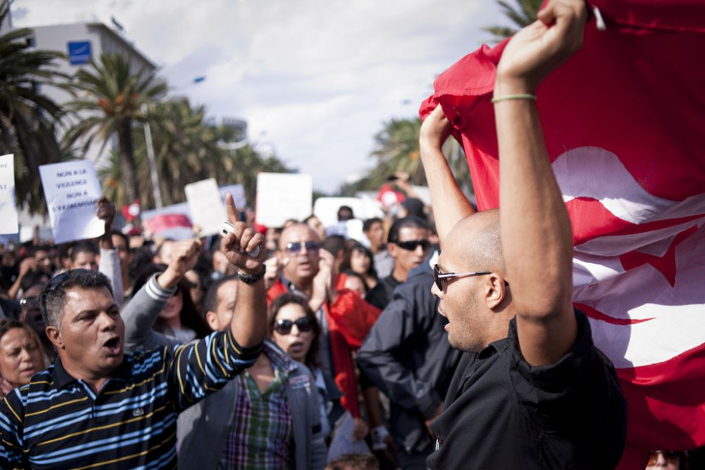 Tunis, Tunisia 16 October 2011. Tunisians demonstrate for peace, freedom of speech and for a secular state (photo by European Parliament via Flickr)