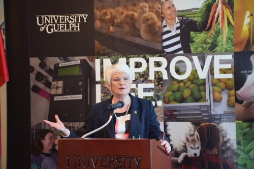 Liz Sandals, MPP for Guelph speaking at funding announcement