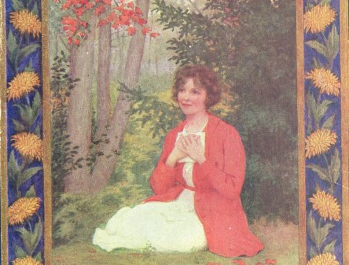 The 1921 book cover of 'Rilla of Ingleside.' A woman kneeling by the woods pressing a letter to her chest