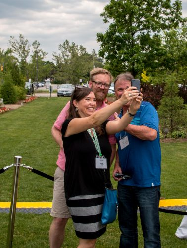 Three people posing for a selfie