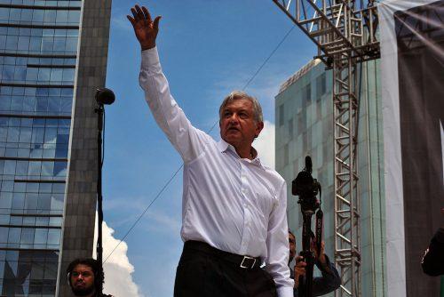 Andrés Manuel López Obrador waving at supporters