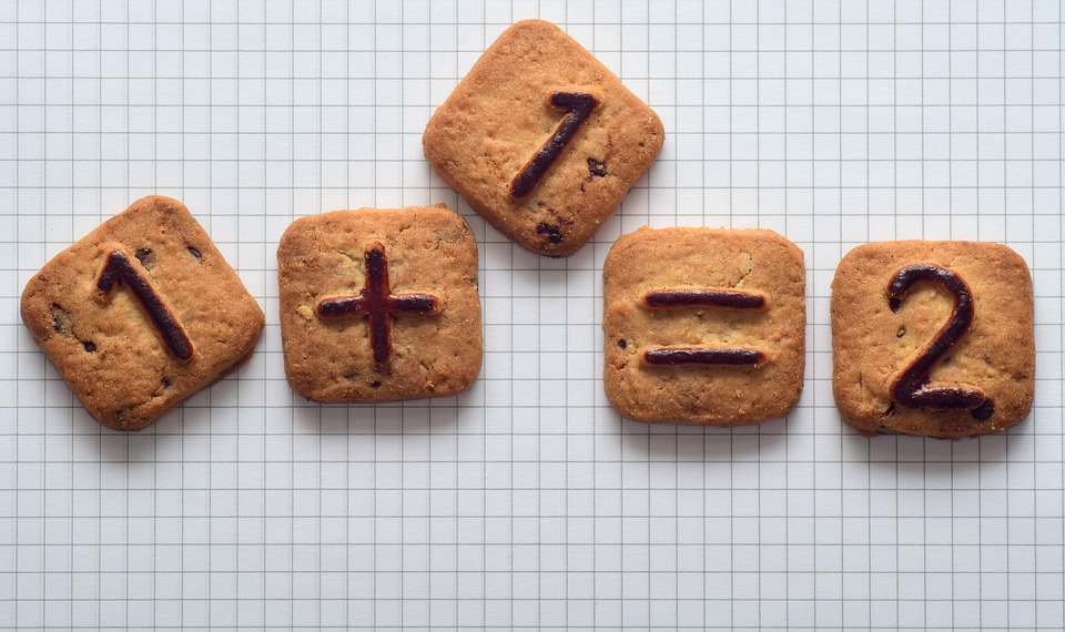 small square cookies with numbers on them showing one plus one equals two