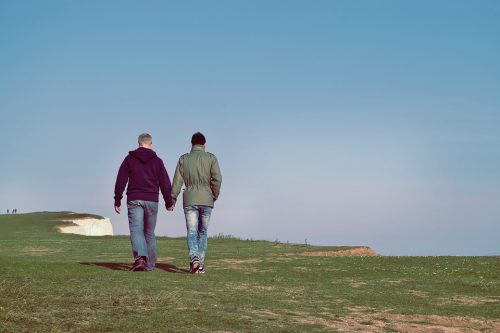 two men holding hands, walking along a scenic coastline