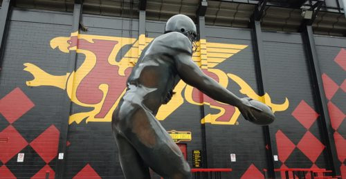 The Hand-Off statue