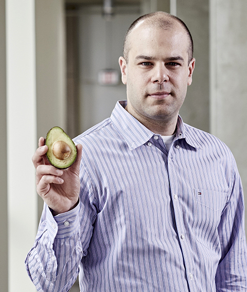A photo of Prof. Paul Spagnuolo holding an avocado