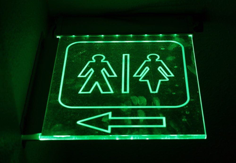 a sign for men's and women's washrooms
