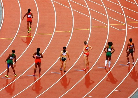 Photo shows women runners on a track