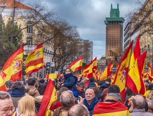 a photo of a Vox protest in Spain