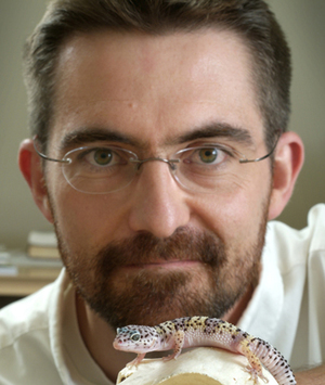 headshot of Prof Matt Vickaryous holding a gecko near his face