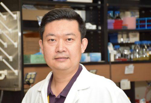 Professor in lab coat inside his laboratory