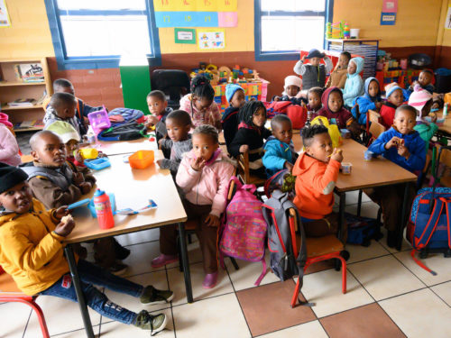 A classroom of children in South Africa