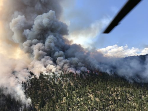 Aerial view of a wildfire in British Columbia