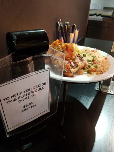 Priced sample food plate